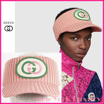 Gucci★素敵!Pink Knitted Embroidered Patch Head Band Visor