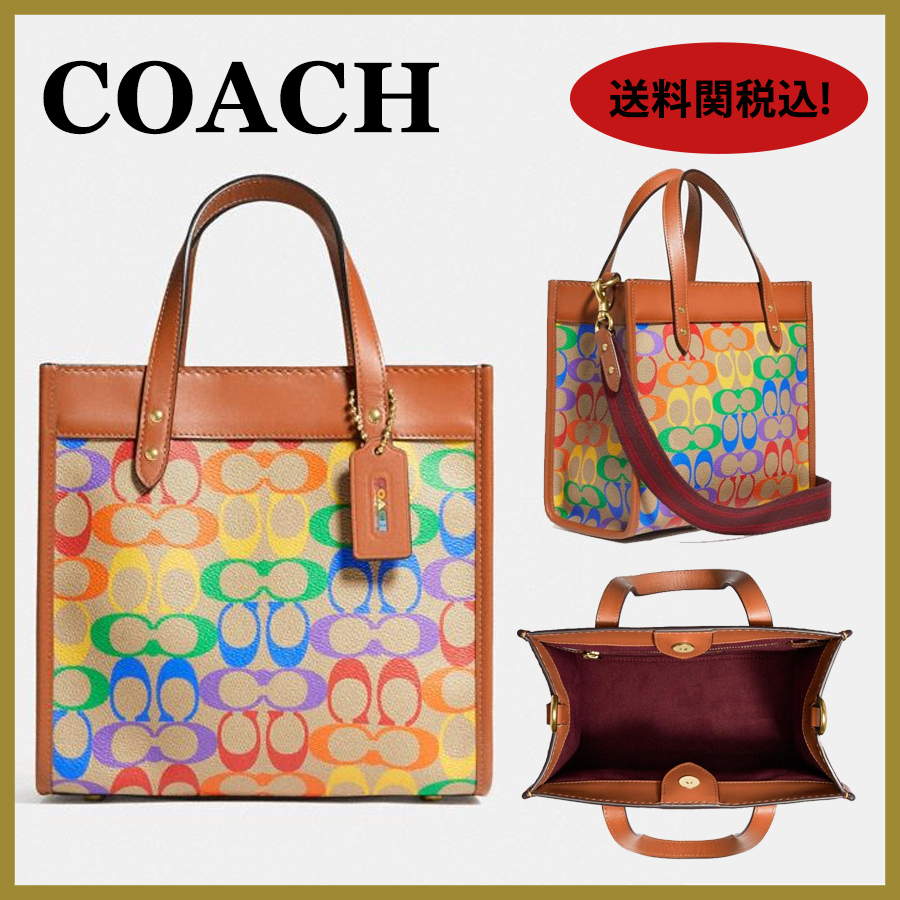 21SS【Coach】Field Tote 22 In Rainbow Signature Canvas送関込 (Coach/トートバッグ) C5142
