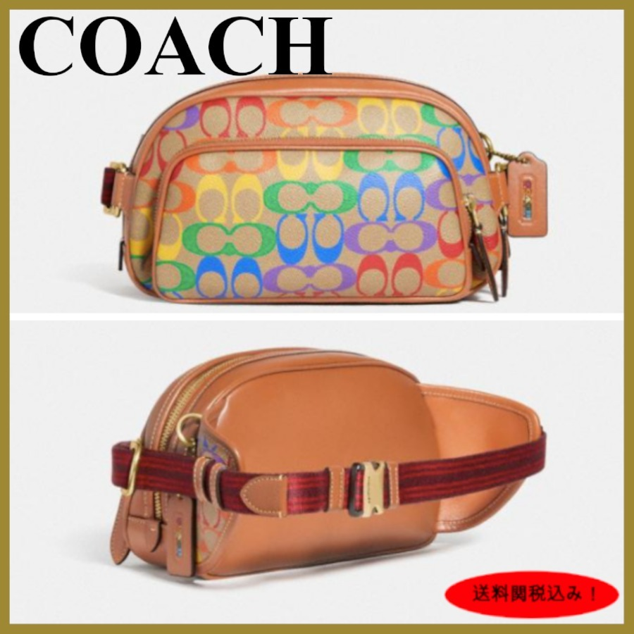 21SS【Coach】Hitch Belt Bag In Rainbow Signature Canvas (Coach/バッグ・カバンその他) C5120
