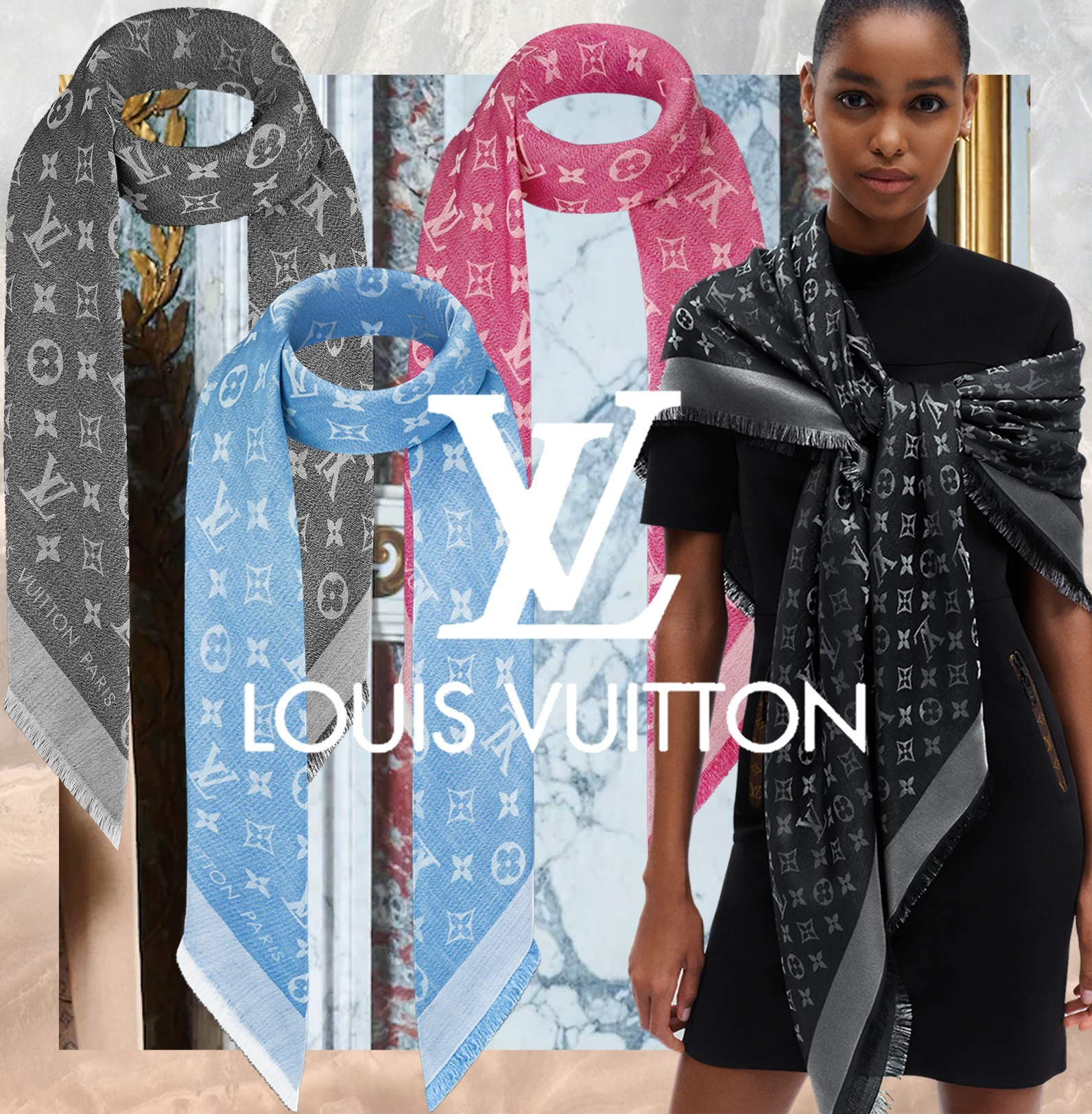 21-22AW新作【すぐ届く国内発送】Louis Vuitton ショール・ シン (Louis Vuitton/マフラー・ストール) M77004