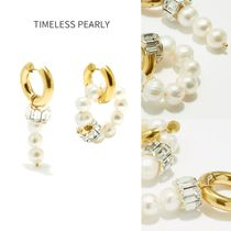 TIMELESS PEARLY パール&クリスタル ミスマッチピアス