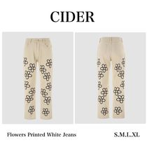 【CIDER】Flowers Printed White Jeans