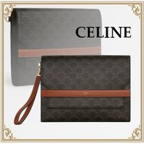 CELINE☆CANVAS TRIOMPHE FLAP POUCH モノグラム Canvas Tan