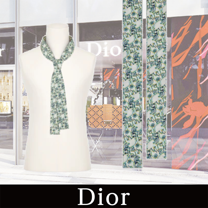 DIOR 21AW新作 DIOR AND KENNY SCHARF FLOWING TIE Green (Dior/ストール) 69868511