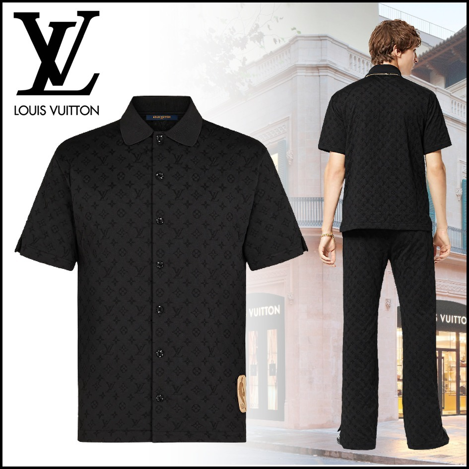 21AW NBAコラボ★ルイヴィトン★ シック ロゴ 半袖ボタンシャツ (Louis Vuitton/シャツ) 1A8X12  1A8X13  1A8X14
