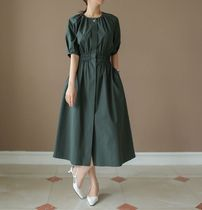 The Coco [関税、送料無料] Simple Summer Cotton Dress GREEN