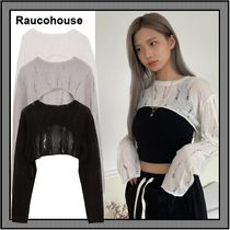 [Raucohouse] Damage Cropped Knitwear Top ★人気 ★