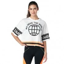 ZUMBA(ズンバ) フィットネストップス 国内在庫 ズンバ We Move The World Crop Top Wear It Out White