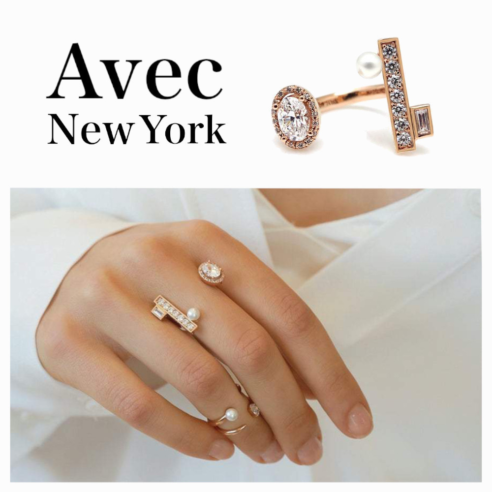 Avec New York◇BTS V着用☆CAMBELL OVAL PAVED BAR RING (指輪・リング) 69984178