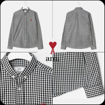 [AMI]正規品★Men Gingham Check Patterned Button-down Shirt