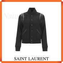 Saint Laurent Teddy Bomber Jacket In Wool And Leather