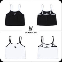 【WOOALONG】★Signature Embroidery Crop Sleeve T-shirt