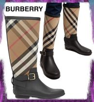 【BURBERRY】Strap Detail House Check and Rubber Rain Boots