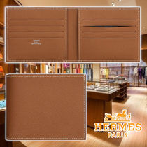 HERMES 21AW Citizen Twill Compact Wallet Gold Leather 財布