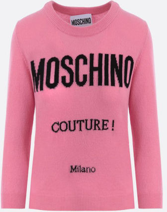 MOSCHINO●MOSCHINO COUTURE! WOOL CASHMERE CROPPED PULLOVER