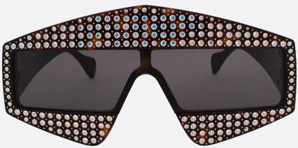 GUCCI●RECTANGULAR-FRAME SUNGLASSES WITH CRYSTALS