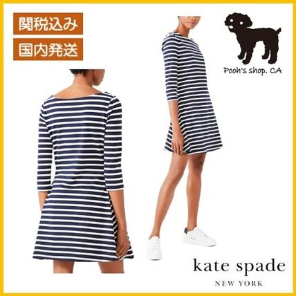 【Kate Spade】striped fit-and-flare dress◆国内発送◆