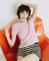 BACK SLIT HALF SLEEVE KNIT TOP/全4色★ TheOpen Product