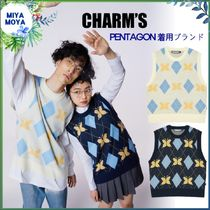 Charm's(チャームス) ベスト・ジレ ★CHARM'S★CHARMS BUTTERFLY ARGYLE KNIT VEST ★兼用★