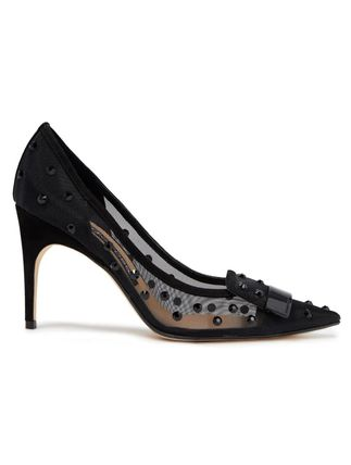 Sergio Rossi★Crystal-embellished mesh and suede pumps