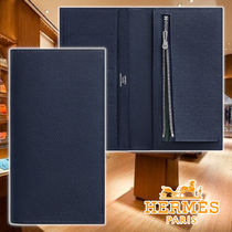 HERMES 21AW Citizen Twill Long Wallet Blue Leather 長財布