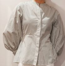 """""""COS"""" BELL SLEEVE FITTED SHIRT WHITE/KHAKI"""