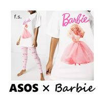 ASOS/Barbie/ルームウェア/パジャマセット/白/ピンク(送料込)