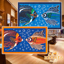 【HERMES】21AW Fish in Love Beach Mat 2colors Cotton タオル