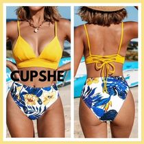 ☆CUPSHE☆Yellow And Blue リーフ柄 水着セット