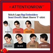 ATTENTIONROW(アテンションロー) Tシャツ・カットソー [ATTENTIONROW] Stitch Logo Embroidery Semi Overfit/追跡付