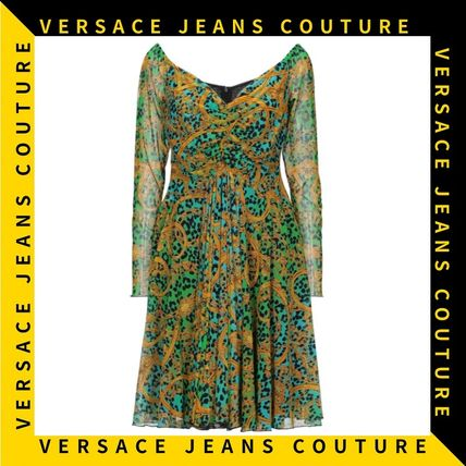 【Versace Jeans Couture】Vネック レオパードプリント ドレス