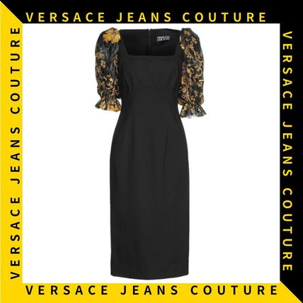 【Versace Jeans Couture】パフスリーブ フラワープリントドレス