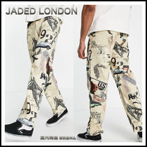 JADED LONDON co-ord skate jeans in beige with all over print