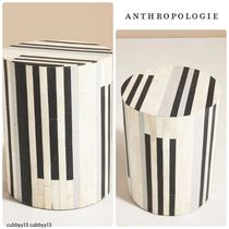 Anthropologie Rounded Inlay Drum Side Table ストライプ◎