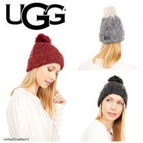 UGG Boucle Knit Cuff Hat with Faux Fur Pom 全3色