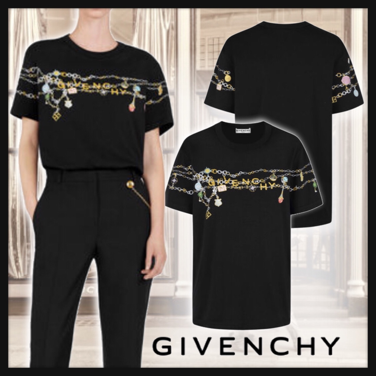 ◆GIVENCHY◆ ジバンシィチャームプリント入りジャージーTシャツ (GIVENCHY/Tシャツ・カットソー) 70450946
