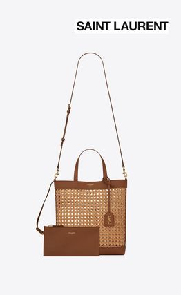 SaintLauren☆N/S TOY SHOPPING BAG IN WOVEN CANE AND LEATHER