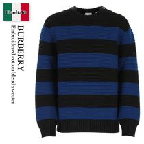 Burberry Embroidered cotton blend sweater
