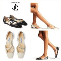 JOEZIE FLAT Black Nappa Leather Flats with Silver Dome Studs