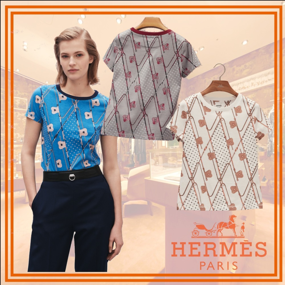 (NEW)HERMES2021秋冬プレClicClacAPoisマイクロコットンTシャツ (HERMES/Tシャツ・カットソー) H1H4616DDT5  H1H4616DD90  H1H4616DD2C