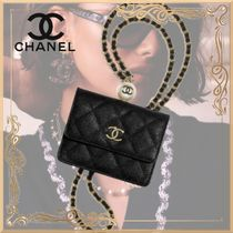 21SS【CHANEL】フラップ コインパース チェーン カーフスキン 黒