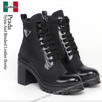 Prada Nylon And Brushed Leather Bootie