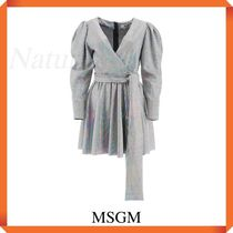 Msgm Mini Dress With Iridescent Facets