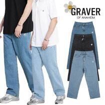 【GRAVER】Drawing Smile Embroidery Wide Denim Pants