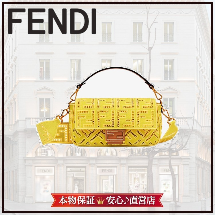 Fendi ☆ Yellow canvas bag with embroidery bag in (FENDI/バッグ・カバンその他) 8BR600AF2VF1EGB