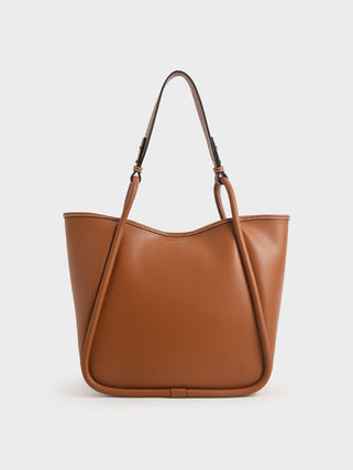 Charles&Keith トートバッグ 【シンガポール】☆CHARLES&KEITH☆ポーチ付 大容量トートバッグ(7)