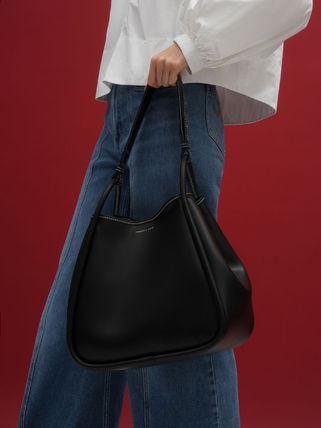 Charles&Keith トートバッグ 【シンガポール】☆CHARLES&KEITH☆ポーチ付 大容量トートバッグ(13)