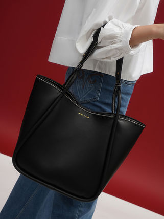 Charles&Keith トートバッグ 【シンガポール】☆CHARLES&KEITH☆ポーチ付 大容量トートバッグ(14)