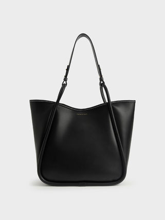 Charles&Keith トートバッグ 【シンガポール】☆CHARLES&KEITH☆ポーチ付 大容量トートバッグ(15)