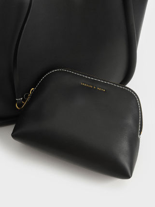 Charles&Keith トートバッグ 【シンガポール】☆CHARLES&KEITH☆ポーチ付 大容量トートバッグ(18)
